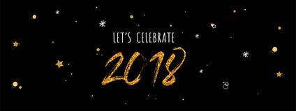 bannière 2018 de célébration nombres d'or sur le fond de noir de nuit Photos stock