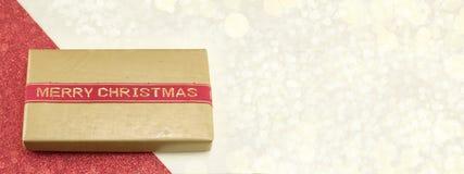 Bannière de cadeau de Noël dans la résolution 8 x 3 Photographie stock libre de droits