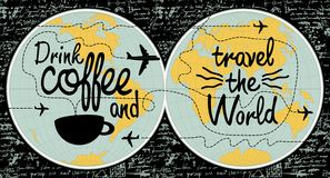 Bannière de café sur le thème du voyage le monde illustration libre de droits