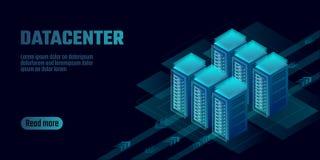 Bannière de calcul de concept de stockage de nuage isométrique de datacenter Site accueillant le grand loyer exhorbitant informat illustration de vecteur