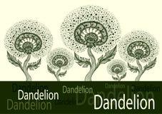 Bannière de calibre de danser le pissenlit décoratif dans le noir de style d'embrouillement de zen sur le blanc illustration stock