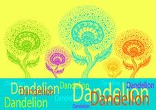 Bannière de calibre de danser le pissenlit décoratif dans le style d'embrouillement de zen coloré illustration stock
