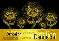 Bannière de calibre de danser le pissenlit décoratif en or de style d'embrouillement de zen sur le noir illustration de vecteur