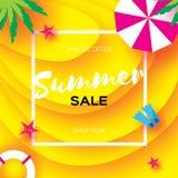 Bannière de calibre de vente d'été Vacantion d'été de repos de plage Vue supérieure sur les éléments colorés de plage Cadre carré illustration stock