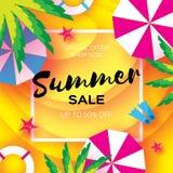 Bannière de calibre de vente d'été Vacantion d'été de repos de plage Vue supérieure sur les éléments colorés de plage Cadre carré illustration de vecteur
