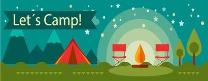 Bannière de camping d'aventure Photos libres de droits