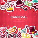 Bannière de carnaval avec les icônes plates d'autocollant illustration de vecteur