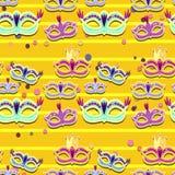 Bannière de carnaval avec les icônes plates d'autocollant réglées Illustration de vecteur Concept de mascarade illustration libre de droits