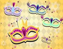 Bannière de carnaval avec les icônes plates d'autocollant réglées Illustration de vecteur Concept de mascarade illustration stock