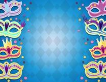 Bannière de carnaval avec les icônes plates d'autocollant réglées Illustration de vecteur Concept de mascarade images libres de droits