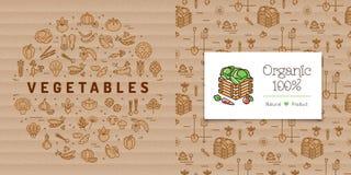 Bannière de cercle de légumes et carte d'agriculture biologique Logo végétal de boîte Photographie stock