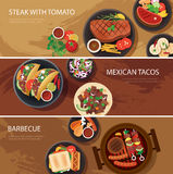Bannière de chaîne alimentaire de rue, bifteck, tacos, barbecue illustration libre de droits