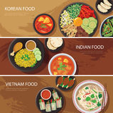 Bannière de chaîne alimentaire de rue de l'Asie, nourriture coréenne, nourriture indienne, vietna illustration libre de droits