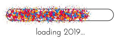 Bannière de chargement de la nouvelle année 2019 avec l'indicateur de progrès coloré illustration libre de droits