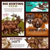 Bannière de chasse avec le croquis d'animal sauvage et d'oiseau Illustration Libre de Droits