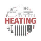 Bannière de chauffage et de refroidissement Ventilation et illustration de traitement de vecteur illustration de vecteur