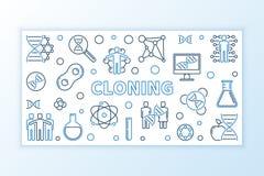 Banni?re de clonage d'ensemble de concept Illustration lin?aire de vecteur illustration de vecteur