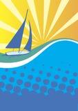 Bannière de club de yacht Fond ensoleillé de mer illustration libre de droits