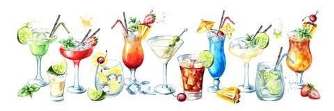 Bannière de cocktail Illustration tirée par la main d'aquarelle, d'isolement sur le fond blanc illustration libre de droits