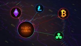 Bannière de concept de Blockchain sur le fond du graphique de marché boursier illustration stock