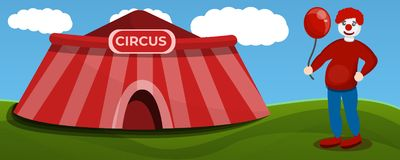 Bannière de concept de clown de tente de cirque, style de bande dessinée illustration de vecteur
