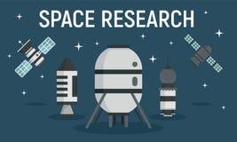 Bannière de concept d'équipement de recherche spatiale, style plat illustration de vecteur