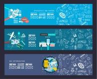 Bannière de concept d'affaires pour le travail d'équipe et brainsotrming avec l'appartement illustration stock
