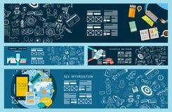 Bannière de concept d'affaires pour le travail d'équipe et brainsotrming avec l'appartement illustration de vecteur