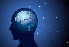 Bannière de concept d'intelligence de Brain Neurons Activity Medicine Thinking avec l'espace de copie Photo stock