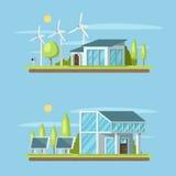 Bannière de concept de maison d'Eco dessus Photographie stock libre de droits