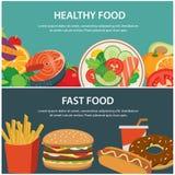 Bannière de concept de nourriture saine et d'aliments de préparation rapide illustration libre de droits