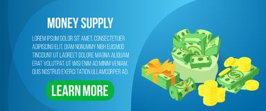 Bannière de concept de masse monétaire, style isométrique illustration stock