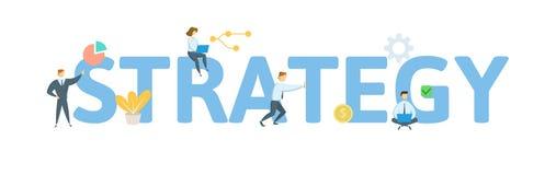 Bannière de concept de mot de STRATÉGIE Concept avec des personnes, des lettres, et des icônes Illustration plate de vecteur D'is illustration de vecteur