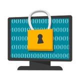 Bannière de concept de protection et d'intimité de données numériques illustration libre de droits