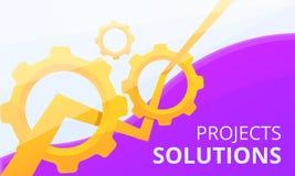 Bannière de concept de solution de projet, style de bande dessinée illustration stock