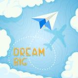 Bannière de concept sur le thème du voyage en l'avion, vacances, aventure Fond plat de papier en ciel bleu avec illustration stock