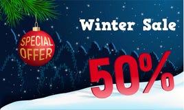 Bannière de concept de vente d'hiver, style réaliste illustration stock