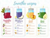 Bannière de conception de calibre, brochure, insecte avec des recettes de smoothie Menu avec des recettes et ingrédients pour un  illustration libre de droits