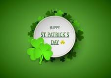 Bannière de conception de calibre le jour du ` s de St Patrick trèfle de l'effet 3d Illustration de vecteur Photo stock