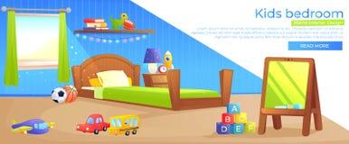 Bannière de conception intérieure de pièce de garçon d'enfant illustration stock