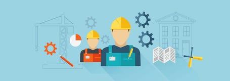 Bannière de construction, constructeur Photographie stock libre de droits