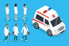 Bannière de couleur d'infirmière et de docteur Near Ambulance Car illustration libre de droits