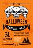 Bannière de crâne de Halloween pour le calibre de partie de costume Images libres de droits