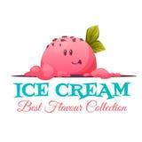 Bannière de crème glacée avec le visage de sucrerie Illustration de vecteur Photos libres de droits