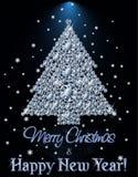 Bannière de diamant de Joyeux Noël et de bonne année avec l'arbre de Noël illustration libre de droits