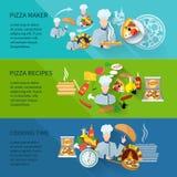 Bannière de fabricant de pizza Photos libres de droits
