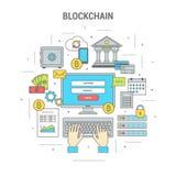 Bannière de finances de concept de Blockchain avec des bitcoins illustration de vecteur