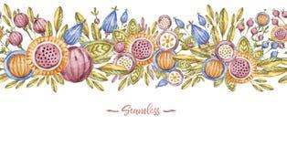 Bannière de fleur d'aquarelle d'isolement sur le blanc illustration stock