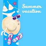 Bannière de Flip Flops Set Summer Vacation de chapeau d'usage de bain avec l'espace de copie Image libre de droits