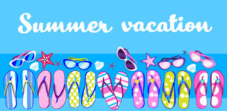 Bannière de Flip Flops Sunglasses Tropical Vacation de plage d'été Image libre de droits
